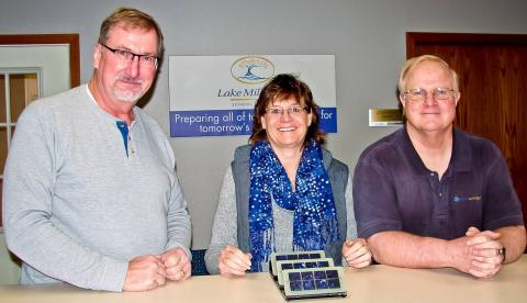 Left to Right: Paul Hermanson, Lake Mills Director of Public Works, Lake Mills Light & Water; Pam Streich, Superintendent, Lake Mills School District; Greg Hoffmann, Sr. Energy Services Representative, Lake Mills Light & Water.